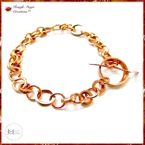 Forged Copper Chain Bracelet by Mollie Meserve Designs for Rough Magic Creations Handmade Jewelry for Women and Men