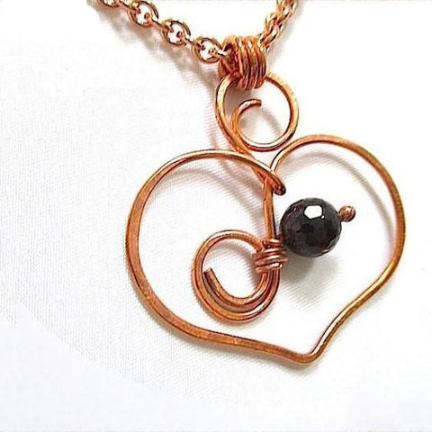 Copper Wire Open Heart and Garnet Gemstone Pendant on Chain Necklace