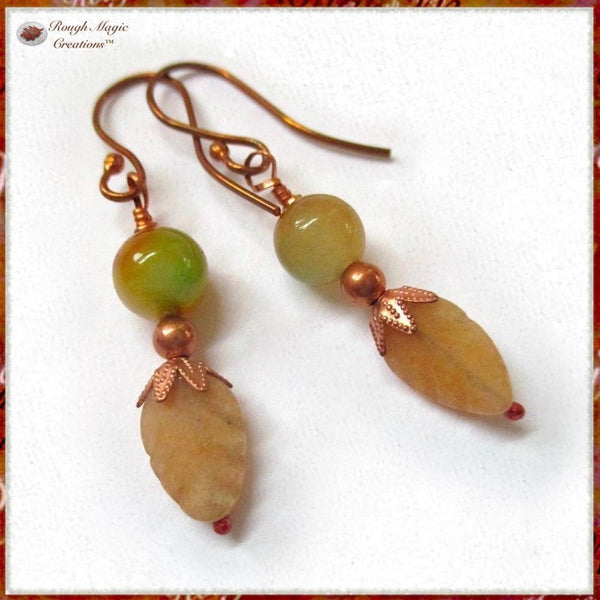 Autumn Fall Gemstone Leaf Earrings, Peach Aventurine Stone Leaves, Watermelon Jade, Copper