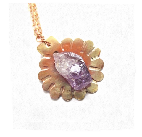 Rough Cut Amethyst & Copper Floral Pendant on Chain Necklace