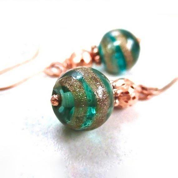 Emerald Green Christmas Earrings with Copper Glitter Baubles, Festive Colorful Dressy Handmade Holiday Jewelry for Women