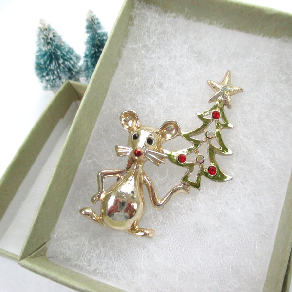 Gold plated vintage Christmas brooch mouse with rhinestone studded Christmas tree, 1970s holiday jewelry signed by Tancer II.