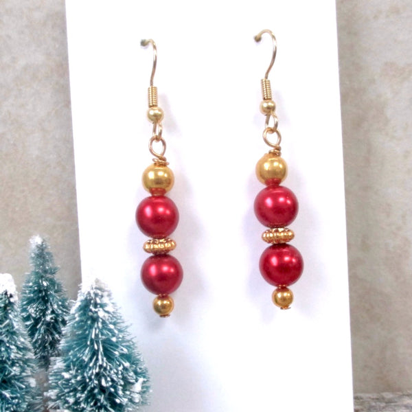 Gold and Red Pearl Drop Earrings