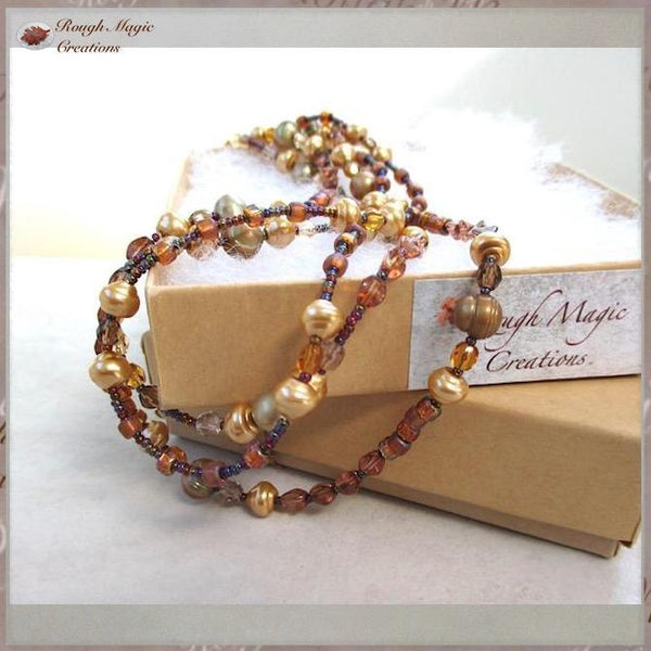 Golden Pearl Multistrand Necklace with Copper Color Glass, June birthstone, birthday jewelry handcrafted by Rough Magic Creations.
