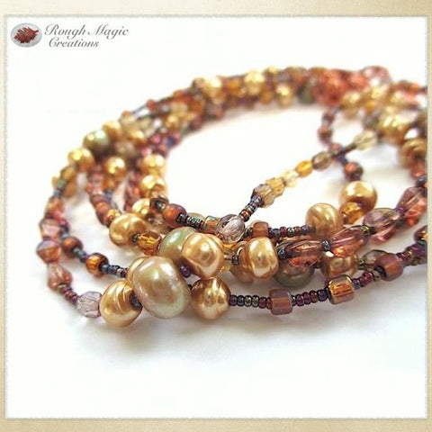 Multi strand autumn necklace, fall jewelry with genuine pearls, gold glass pearls, earth tone coppr Czech glass beads, seed beads and copper clasp, June birthstone, handmade jewelry by Rough Magic Creations.