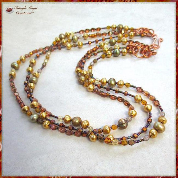 Gold and Sage Pearl MultiStrand Necklace with Glass and Copper