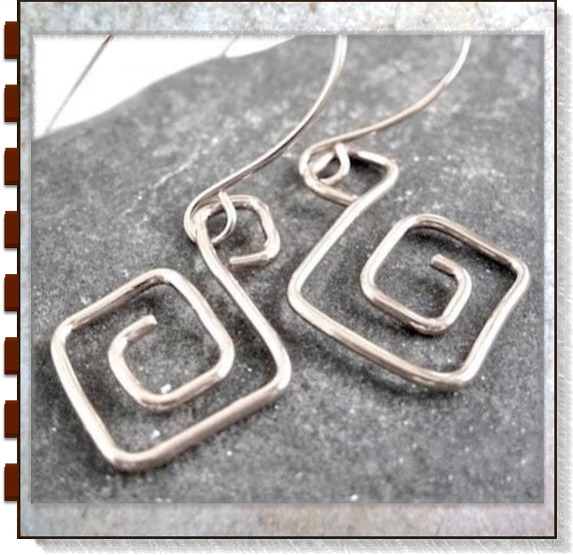 Greek Key Wirework Earrings, Antique Sterling Silver Classical Jewelry