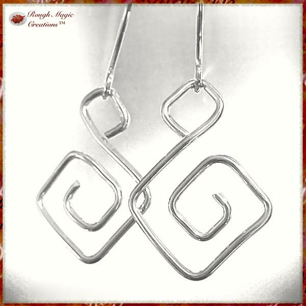 Sterling silver earrings Greek key dangles handmade jewelry for women