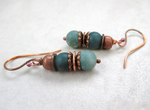 Green Stone Drop Earrings with Amazonite Gemstones & Antique Copper