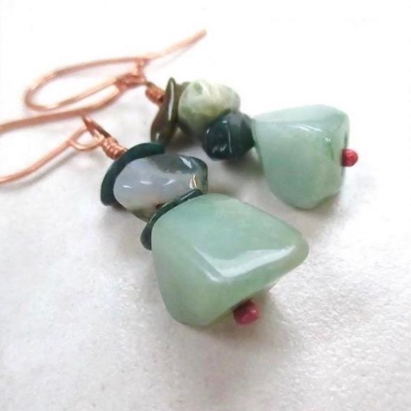 Green Gemstone Earrings, Aventurine, Mixed Stones, Copper Asymmetrical Dangles