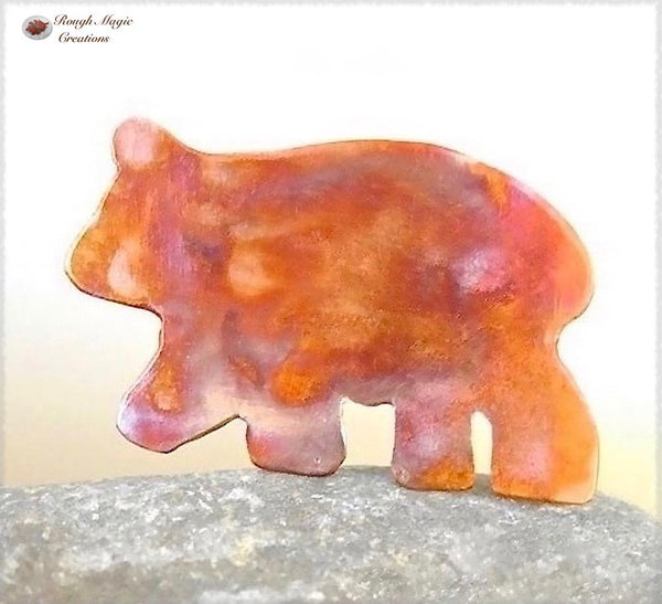 Copper Bear Brooch, Rustic Woodland Jewelry Handmade by Rough Magic Creations