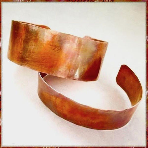 His and Hers Matching Cuffs, Pair Solid Copper Bracelets for Men, Women, Couples