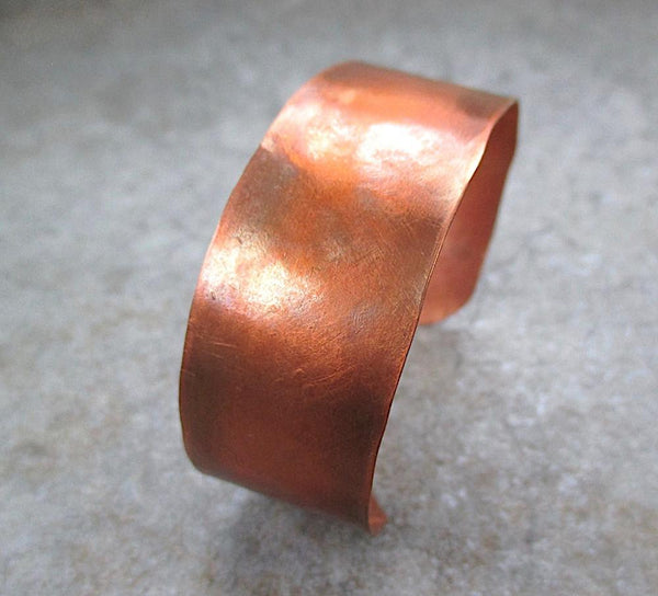 Primitive Copper Cuff Rustic Hammered Metalwork Bracelet, Unisex Jewelry