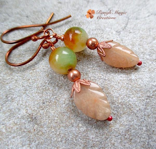 Autumn leaves gemstone and copper earrings with peach aventurine and green and russet watermelon jade stones