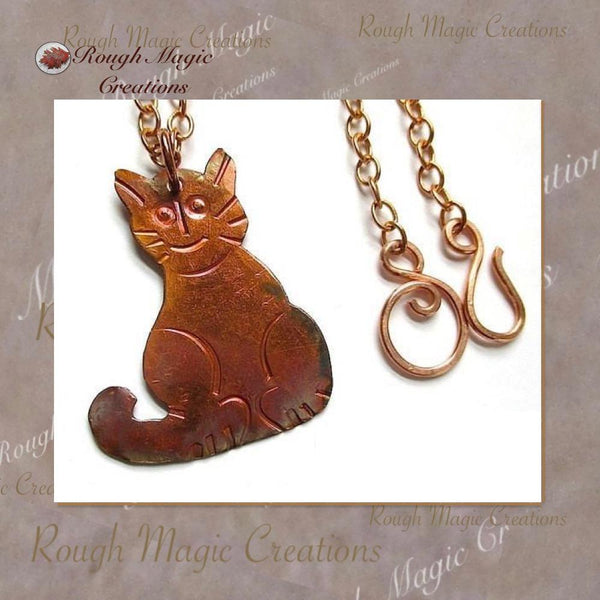 Handcrafted kitty cat copper pendant chain necklace for animal lovers