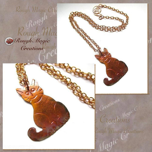Handmade Jewelry for Crazy Cat Lady Copper Pendant Chain Neckace