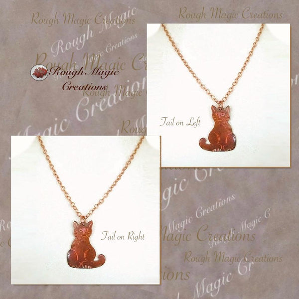 Rustic Antiqued Copper Kitty Cat Pendant on Adjustable Chain Necklace