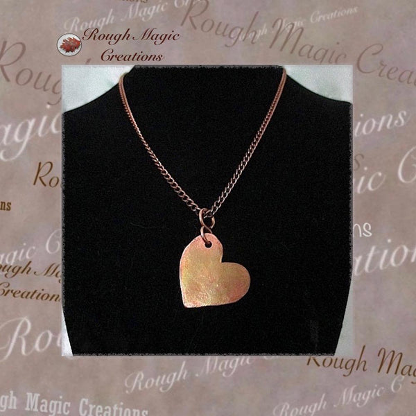 Copper Heart Pendant on Chain Necklace