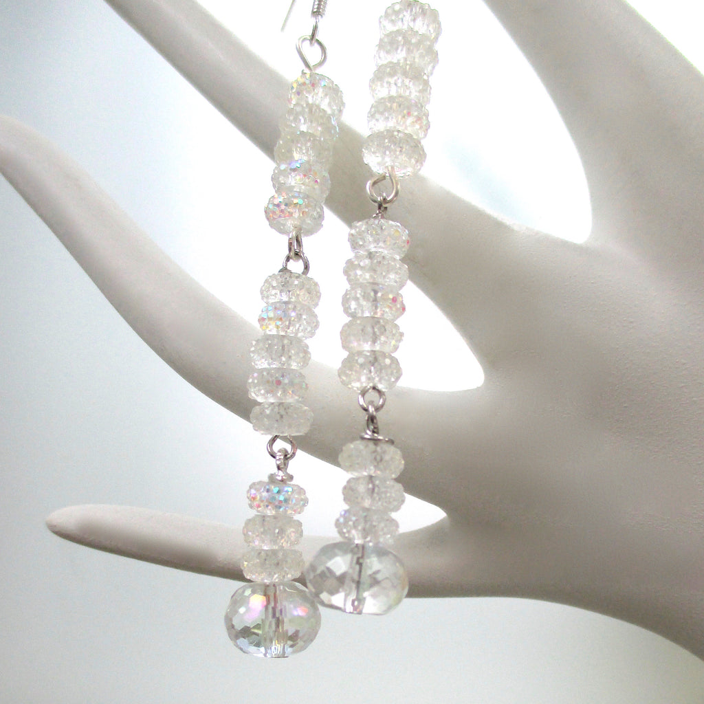Christmas Holidays and New Year's Eve Extra long earrings elegant rock crystal gemstones, sparkling glass, glamorous jewelry