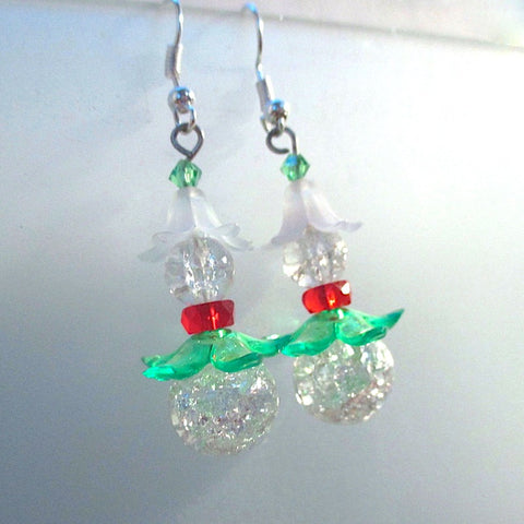 Christmas Fantasy earrings, holiday jewelry handmade in Maine USA