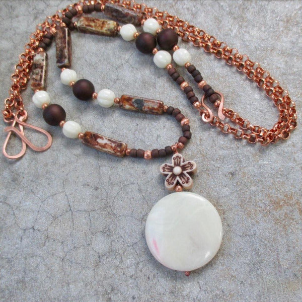 Earth Tone Boho Necklace with Creamy Lucite Pendant and Copper Chain