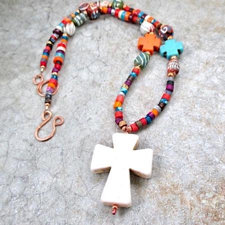 Ivory Stone Cross Pendant on Boho Beaded Necklace