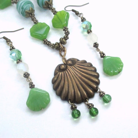 Green Glass Beach Necklace & Earrings Jewelry Set with Antique Brass
