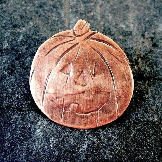 JackOLantern Halloween Pumpkin Brooch, Copper metalwork jewelry for women, made in Maine, USA, America.