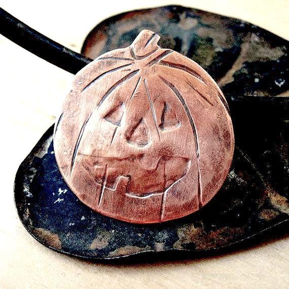 Spooky Halloween Costume Jewelry, Copper Pumpkin Jack o Lantern brooch, hand forged antiqued metalwork jewelry for women, Handmade Jewelry, made in Maine, USA, America.