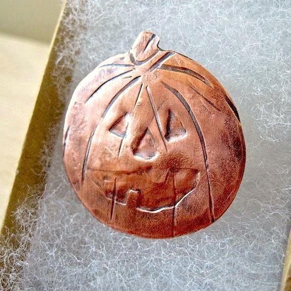 Spooky Halloween Costume Jewelry, Copper Pumpkin Jack o Lantern brooch