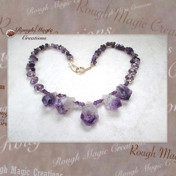 Purple Raw Amethyst Gemstone Necklace with Gold Filled Beads