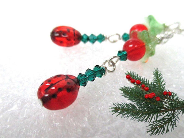 Colorful gift for gardeners, Ladybugs Christmas Party Earrings. Made in America, Festive Holiday Shoulder Dusters are handmade in Maine, USA.