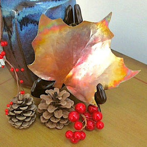 Large Maple Leaf Dish 8 inch by 9 inches Rustic Copper Autumn Home Decor