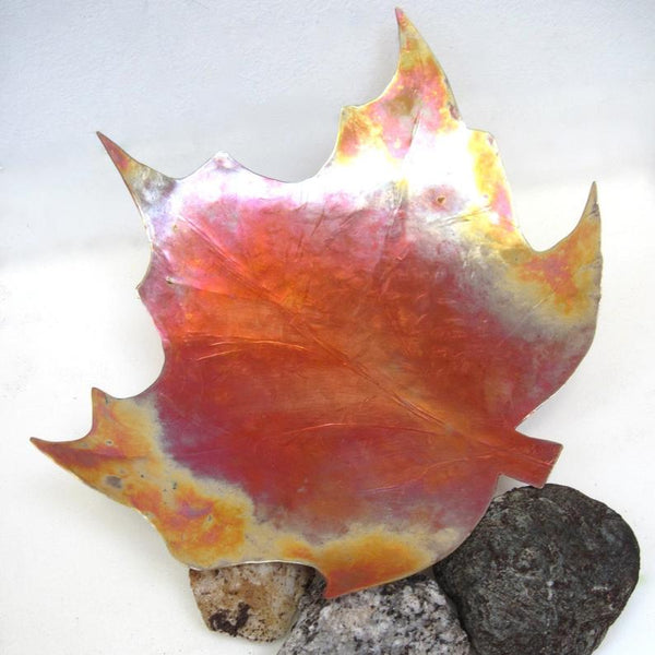 "Large Maple Leaf Copper Dish 8"" x 9 Inch Hammered Metal Bowl Rustic Autumn Home Decor"