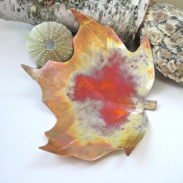 "Maple Leaf Copper Dish 8"" x 9 Inch Hammered Metal Bowl"