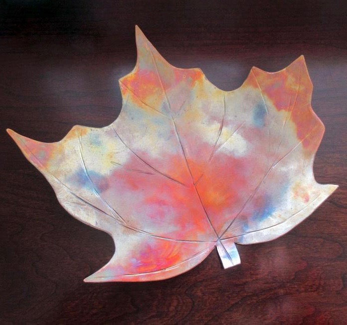 Copper Maple Leaf Decorative Dish 10 x 11 Inches