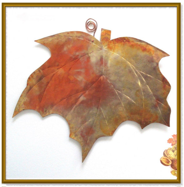 Large Maple Leaf Artisan Wall Hanging Hand Forged Copper Metalwork Home Decor