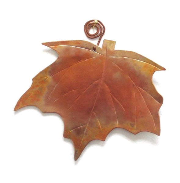 Autumn Decor Hand Forged Copper Maple Leaf Wall Hanging
