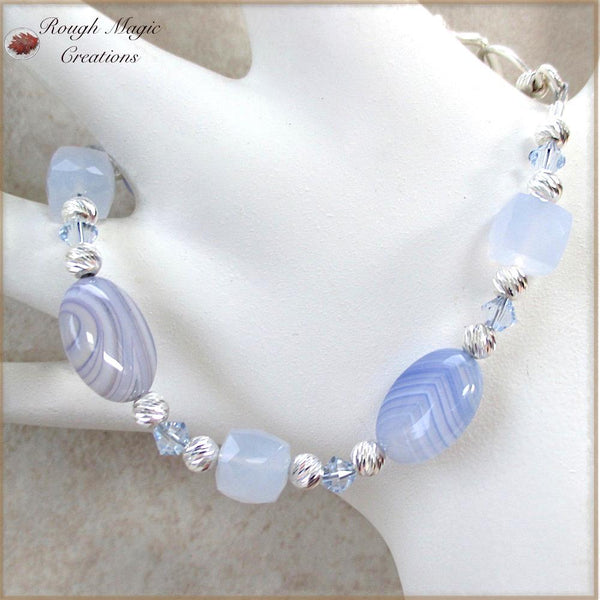 Lavender Blue Gemstone Bracelet with Crystals, Sterling Silver