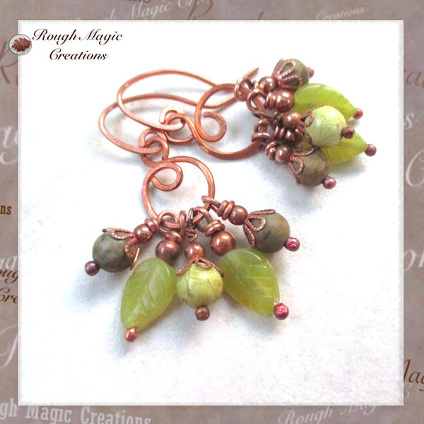 Green Gemstone Cluster Earrings, Serpentine Jasper Stone, Copper