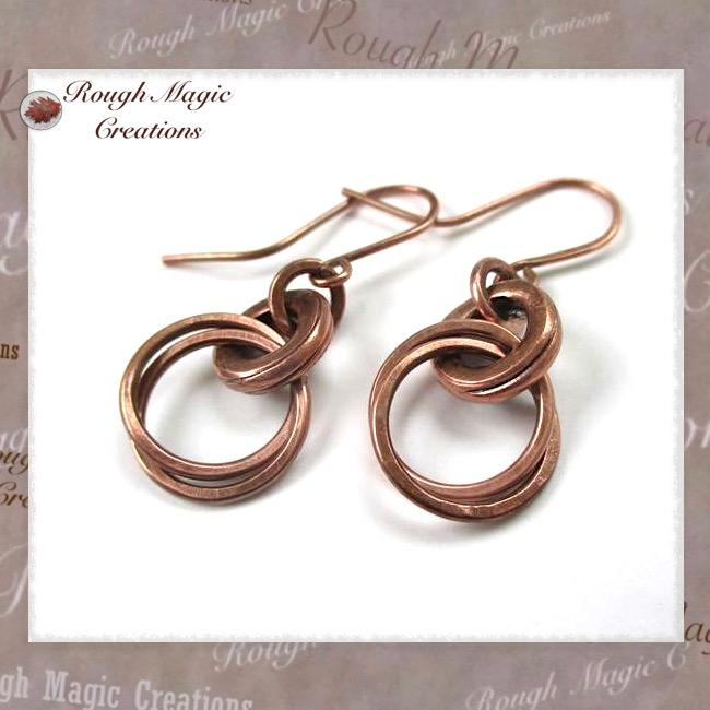 Antiqued Copper Earrings Handmade Jewelry