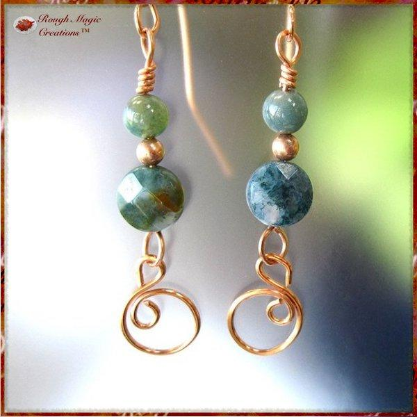 Long Dangle Earrings with Green Moss Agate Gemstones and Copper