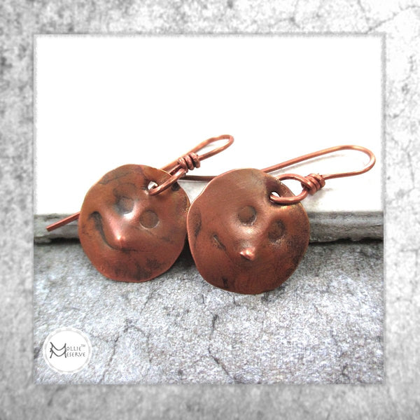 Happy Faces Copper Earrings
