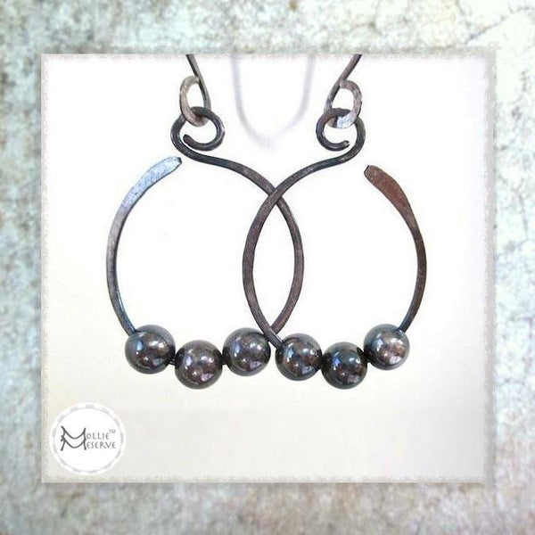 Large sterling silver hammered dangle earrings beaded open hoops antiqued patina