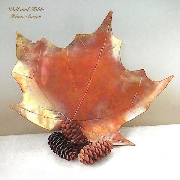 "Copper Maple Leaf Decorative Dish 10"" x 11 Inches"