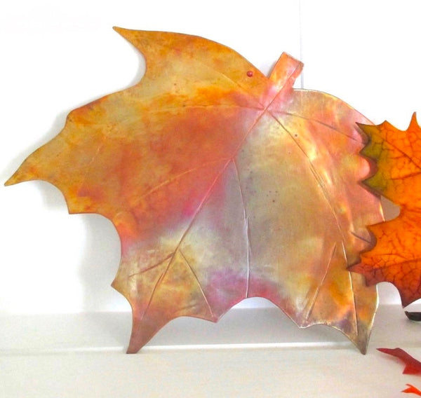 Rustic Copper Wall Hanging, Autumn Maple Leaf, Metalwork Decor