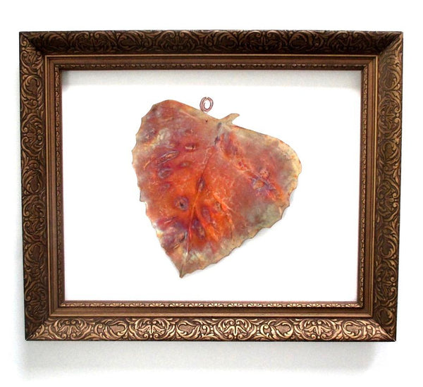 A solid copper birch leaf wall hanging, rustic hammered metalwork will bring the colorful palette of woodland autumn leaves and fall foliage to your home decor.