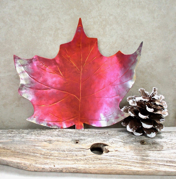 "Copper Maple Leaf Decorative Dish 5.25"" x 6 Inch Metalwork Bowl"