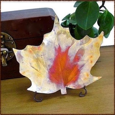 Maple Leaf Dish 8 inch by 9 inches Copper Home Decor