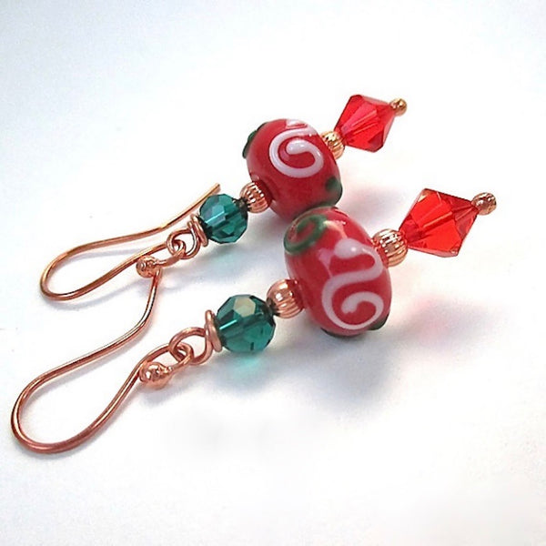 Big Bold Christmas Earrings with Red and Green Lampwork & Crystals